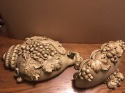 Vintage Chalkware Wall Plaque And Pocket Vase Universal Statuary Chicago 1958