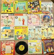16x Vintage Childrenand039s 7 Vinyl Records Pinocchio Tedy Beary Happy Time