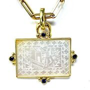 14k Yellow Gold 19th Century Mother Of Pearl Token Enhancer With Sapphires