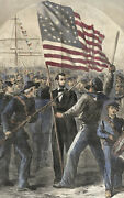 Hand Colored Harper's Weekly Abraham Lincoln 1864 Re-election Campaign Engraving
