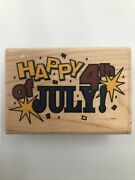 Stamp Abilities 2000 Happy 4th Of July Gr1008 Wood Press Block Ink Stamp