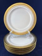 Elite Works 6 Limoges Higgins And Seiter New York Green Gold Lace Trim 8.75andrdquo