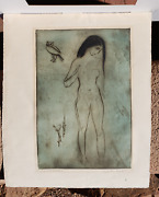 Kaiko Moti Original With Lithograph - Nude With Owl - Signed