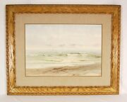 19th Century American Shoreline Seascape Watercolor Painting Sgnd Richards