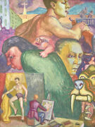 """Vintage 1950's Surrealist Painting """"face Montage"""" Male Model Dick Fort Chicago"""