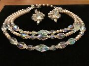Vintage Vendome Crystal Pearl 3 Strand Necklace And Cluster Earring Set
