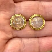 14k Yellow Gold Man In The Moon Carved Moonstone Stud Earrings