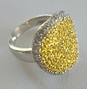 14k White And Yellow Gold Ladyand039s Yellow Sapphire And Diamond Ring Size 6 Msrp 3500
