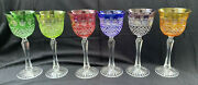 """Set Of 6 Cut To Clear Crystal Multi-color Wine Goblets Glasses 8.25""""h Bohemia"""