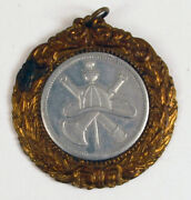 Antique The Lords Prayer Our Father Firefighter Medal Fob Fireman Rare