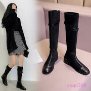 Womens Fashion Knee High Flats Buckle Boots Autumn Winter Riding Shoes Plus Size