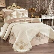 Luxury Wedding Lace Cotton Bedding Set Duvet Cover Pillow Casesbed Cover With R
