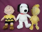 3 Lot Kohland039s Care Peanuts Gang Charlie Brown Snoopy Woodstock Plush Dolls Clean