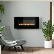 Ebern Designs Stockwell Curved Glass Wall Mounted Electric Fireplace W001750806