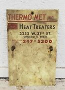 Vintage Porcelain Industrial Sign, Thermo-met Inc.