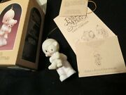 Precious Moments Baby's First Christmas 1980 Issue Boy With Teddy Bear Ornament