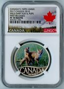 2017 Canada Ngc First Releases Pf70 Matte Silver Wild Swift Fox And Pups S10