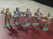 Barclay And Manoil- Barclay Drum Major, Drummer, French Horn, Buglers- 5 Pc
