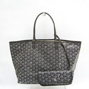 Goyard Saint Louis Pm Womenand039s Leathercoated Canvas Tote Bag Graywhi Fvgz000267