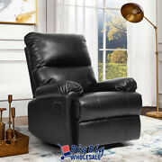 Pvc Leather Recliner Chair Manual Couch Single Reclining Sofa Lounger Seat Black