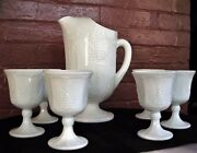 Indiana Colony Milk Glass Opaque White Harvest Grape Footed Pitcher And 6 Goblets