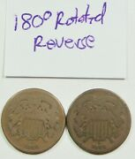 2 1864 Two Cent Pieces – One With 180 Degree Rotation