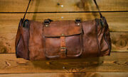 New Men's Brown Vintage Genuine Goat Leather Gym Travel Luggage Duffle Bags
