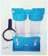 Two Stage 10 Clear Standard Whole House Water Filter System 1 Port W Filter