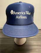 American West Airlines Vintage Trucker Hat Blue One-size