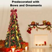 6ft Artificial Decorated Collapsible Pop Up Christmas Tree 200 Led Lights Xmas