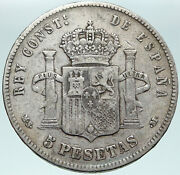 1883 Spain W King Alfonso Xii Antique Old Silver 5 Pesetas Spanish Coin I87464