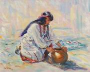 Ann Dyer 1990 Signed Original Southwestern Painting Of A Pottery Maker -no Frame