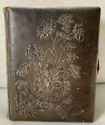 Vintage Leather Bound Photo Album With 30 Pictures From 1800's Gold Pages Thick