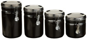 Anchor Home Collection 4-piece Ceramic Canister Set With Clamp Top Lid Black
