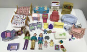Vintage Fisher Price Loving Family Doll Figures Furniture Bed Couch Chairs Table