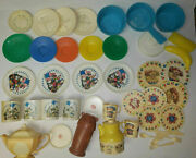 Vintage Lot Of 46 Pretend Play Dishes Tea Pots Cups Current Disney Unbranded