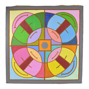 1960's Mid-century Colorful Modern Painting Abstract Mandala I Dick Fort Chicago