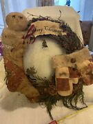 Primitive Christmas Wreathmerry Christmasstocking And Mittens
