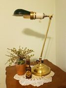 Antique Faries Brass Lamp With Porcelain Bryant Socket And Hubbell Half Shade