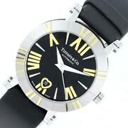 And Co Atlas Z1300.68.16a10a41a Automatic Ladies Black Leather [e1203]