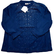 Quacker Factory New Blue Full Zip Jacket Crystals New W/ Tags Extra Large Xl
