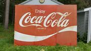 1970and039s Large Coca-cola 3pc Billboard Sign 8and039hx12and039w Painted Tin Wood Frame Backed