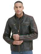 Black Rivet Antique Leather Moto Distressed Brown Leather-small-euc