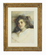 1872 Pre-raphaelite Style Watercolor Portrait Young Woman White Robe Signed