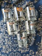 Aw Root Beer Vtg Mini Clear Glass Mug 6 Lot United States Logo - Defects
