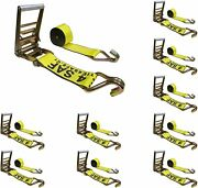 10 Heavy Duty 4 X30and039 Ratchet Strap W/j Wire Hook Truck Trailer Flatbed Tie Down