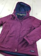 Lands' End Squall Jacket Waterproof Removable Hood Plum Women's Xs 2-4 O79