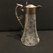 Silver And Cut Glass Claret Decanter