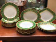 Royal Crown Derby Green And Gold Dessert Plates And Servers,dated 1897,1906. 21 Pcs