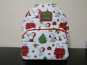 Loungefly Peanuts Holiday Aop Mini Backpack New With Tags